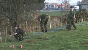 Photograph of North Hykeham Air Cadets planting hedge at Newark Air Museum. Photograph: Howard Heeley