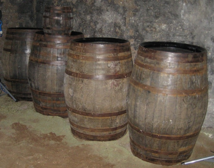 Storage barrels for an interpretation project at Newark Castle