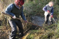 Volunteers helping to create wetlands