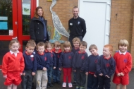 The children at Holy Trinity Primary School who created wildlife mosaics for display their play area
