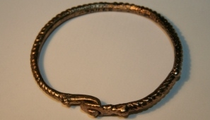 Romano-British gold bracelet found in Newark and now housed at the Newark and Sherwood District Council's Museum Service.